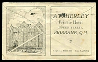 Lot 978 [2 of 2]:Atcherley Private Hotel, Brisbane. small logo on illustrated cover (on reverse), franked with 2d red KGV, 2 Feb 1937 Brisbane slogan cancel, tone spots and surface thinned on front.