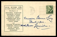 Lot 4479:Bulk Buyers Ltd, Sydney advice card for Groceries, Crockery, Cigarettes etc, franked with 3d green KGVI, Victor Harbour Mar 1952 machine cancel, for 19 Mar 1952 appointment by company representative.