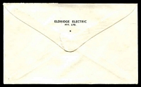 Lot 828 [1 of 2]:Eldridge Electric Pty. Ltd. cover franked with 5c blue QEII, cancelled with Bathurst St, Hobart 11 Jul 1968 (B2) cancel, torn flap.