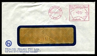 Lot 601:Healing (Sales) Pty. Ltd. small logo on window-faced cover cancelled with 21 Dec 1963 Melbourne meter.