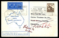 "Lot 4938 [1 of 2]:Radio Australia, Melbourne illustrated Air Mail card 'Greetings from Radio Australia' pre-printed on reverse in Japanese, franked with 6d Anteater, 11 Aug 1964 Melbourne slogan cancel, sent to Indonesia, endorsed ""Return to Sender, Australia""."