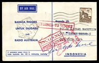 Lot 5145:Radio Australia, Melbourne Air Mail card pre-printed on reverse in Indonesian, franked with 6d Anteater and undated machine cancel, sent to Indonesia, magenta 'RETURN/TO/SENDER/D.L.O. MELB' pointed-finger.