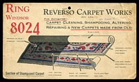 Lot 982 [1 of 2]:Reverso Carpet Works Pty. Ltd, Sth. Yarra illustrated Post Card for Carpet Cleaning, Repairing & New Carpets, franked with 1d green KGV, 2 Dec 1932 Melbourne slogan cancel, faults.