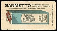 Lot 609:Sanmetto illustrated blotter for Kidney, Bladder and Urethral Ailments, used.
