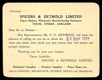 Lot 785:Spicers & Detmold Ltd, Adelaide advice card for Paper Makers, Wholesale Manufacturing Stationers, for 29 Mar 1939 appointment.