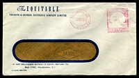 Lot 827:The Equitable, Probate & General Insurance Comp. Ltd. window-faced cover cancelled with 11 Sep 1953 Melbourne meter.