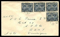 Lot 4558:Plain 1945 Gloucester 5½d x4 on FDC, cancelled with 'HAWTHORN/19FE45/VIC' (WWW #180B - Rated R).