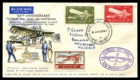 Lot 5441:1964 Melbourne-Sydney AAMC #1522 50th Anniversary illustrated flight cover with 5d & 2/3d Air Mail tied by Melbourne cds with special cachet in violet and special vignette.