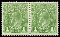Lot 2412:1d Green - BW #81(1)fa Die II-I pair, Cat $80.