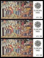 Lot 3844:1985 Europa SG #SB11 Booklet x3, short perfs on one stamp.