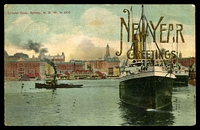 Lot 5792 [2 of 2]:Camperdown: - 'CAMPERDOWN/31DE07.1045AM/N.S.W' on 1d Arms on multicoloured PPC 'Circular Quay, Sydney,1905', 'New Year Greetings' overprint, toning mainly on back of card.  PO 1/4/1853.