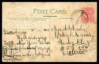 Lot 5792 [1 of 2]:Camperdown: - 'CAMPERDOWN/31DE07.1045AM/N.S.W' on 1d Arms on multicoloured PPC 'Circular Quay, Sydney,1905', 'New Year Greetings' overprint, toning mainly on back of card.  PO 1/4/1853.