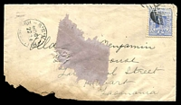Lot 6534:Helensburgh: - framed 'HELENSBURGH/FE22/1904/N.S.W' (inverted day) with illigible BN on 2d blue on Tatts cover (pin hole, receipt remainder, badly damaged corner).  PO 1/12/1886.