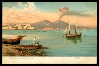 Lot 7087 [2 of 2]:Milson's Point: - 'MILSON'S POINT/22DE1908/N.S.W' on 1d Arms on multicoloured PPC 'Naples with Vesuvius seen from the sea' Misch & Co card.  PO 11/1/1892.