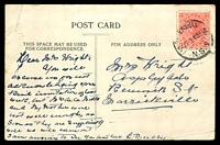 Lot 7249 [1 of 2]:Petersham (2): - 'PETERSHAM/5JY121155AM/N.S.W' on 1d pink on multicoloured PPC 'Martin Place, Sydney' J.C. Post Card Co. card, faults.  Renamed from Norwood PO 1/7/1872.