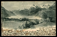 Lot 1129 [2 of 2]:The Rock: - framed 'THE ROCK/24DE/1902/N.S.W' arrival on black & white PPC 'Brunnen and Urirothstock' sent from Lucerne, Switzerland, message on front of card.  PO 1/9/1880.