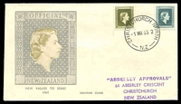 Lot 4195:1963 2½d & 3/- QEII Officials on illustrated Official FDC, 'CHRISTCHURCH NORTH/1MR63.2/N.Z' (A1+) cds, 'Abberley Approvals' cachet addressed.