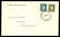 Lot 4472:1963 use of 2½d & 3/- QEII Officials on plain FDC cancelled with 'KOHUKOHU/1MR63.2./N.Z' (A2), addressed to Kohukohu, Hokianga.