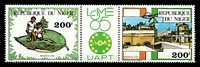 Lot 22966:1985 Philex Africe '85, Lome SG #1034-5 pair with label.