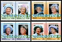 Lot 24692:1985 Queen Mother set of 8 as 4 se-tenant pairs.