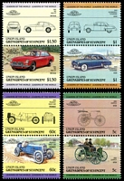 Lot 4593:1985 Automobiles 2nd Series set of 8 as 4 vertical se-tenant pairs.
