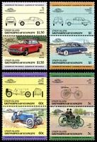 Lot 24964:1985 Automobiles 2nd Series set of 8 as 4 vertical se-tenant pairs.