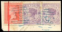 Lot 2045:392: 2 strikes in blue on 1d pink & 2d violet x2.  Allocated to Sandford-PO 12/5/1862; closed 31/8/1978.