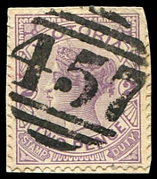 Lot 1954:457: '457' on 2d violet.  Allocated to California Gully-PO 1/1/1864; RH c.1887; PO c.1902; LPO 26/7/1994.