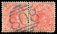 Lot 2128:808: blue 1st type on 1d pink pair.  Allocated to Griffith's Point-PO 14/8/1873; renamed San Remo PO 1/10/1888; LPO 31/3/1994.