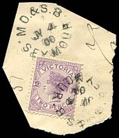 Lot 2936:Seymour (1): - WWW #210 2 strikes of unframed 'M.O.& S.B/JY4/00/SEYMOUR' on 2d violet.  PO 1/7/1844; renamed Seymour West PO 15/3/1911.