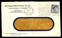 Lot 777:Armstrong, Ledlie & Stillman Pty Ltd window-faced cover for General Merchants and Importers, franked with 5d blue QEII, 24 Apr 1962 Cairns slogan cancel.