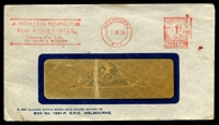 Lot 4484:Chartres Pty Ltd, Melbourne window-faced cover for A Noiseless Remington, franked with 7 Nov 1934 Melbourne Postage Paid meter cancel.