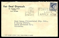 Lot 829:Fair Deal Disposals, Sydney cover franked with 5d blue QEII, 29 Jan 1963 Sydney slogan cancel.