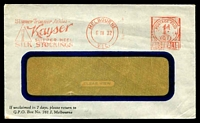 Lot 4474:Kayser, Melbourne window-faced cover for Silk Stockings, 6 Apr 1932 Melbourne Postage Paid meter cancel.