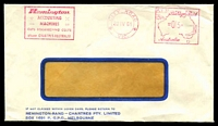 Lot 5150:Remington-Rand-Chartres Pty Ltd, Melbourne window-faced cover for Accounting Machines, 20 Apr 1961 City Road, Vic. Postage Paid meter cancel.