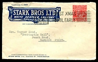 Lot 822:Stark Bros. Ltd, Paddington illustrated cover for Dry Cleaners and Pressers, franked with 2d red KGV, 9 Dec 1931 Sydney slogan cancel, roughly opened.