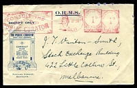 Lot 4707:The Public Curator OHMS advertising cover Receipt Only with logo of building facade at Edward Street, 13 Feb 1936 Brisbane meter cancel.