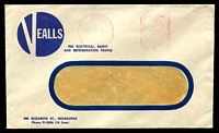 Lot 4534:Vealls, Melbourne window-faced cover with small logo for The Electrical, Radio and Refrigeration People, 12 Jan 1955 Melbourne meter cancel.