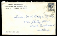 Lot 5197:Yenda Producers' Co-Op. Soc. Ltd cover franked with 5d blue QEII, 'YENDA/12AP62/N.S.W