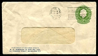 Lot 650:1953-57 3d Green QEII Large Die BW #ES91 window-faced Envelope for RG Turnley & Son Pty Ltd, cancelled with 29 Mch 1955 Melbourne slogan, two small tears.