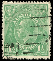 Lot 264:1½d Green Die I - BW #88(16)h [16R56] Retouched GE and shading, Cat $45.