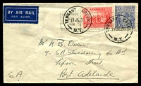 Lot 1499:Tennant Creek (2): - 2 strikes of 'TENNANT CREEK/11JL38/N.T.' ('S' removed) on 2d NSW Sesquicentenary & 3d blue KGV, lightly overprinted with 12 Jul 1938 Adelaide slogan, on cover (torn at back) with Air Mail label, to Adelaide.  Renamed from Tennant Goldfield PO 1/6/1935.