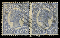 Lot 1075:212: '212' on 2d 4-Corners pair. [Rated R]  Allocated to Haughton-PO 12/1/1876; closed 19/11/1881; Re-allocated to Ravenswood Junction PO 9/11/1881; renamed Mingela PO 13/3/1931.