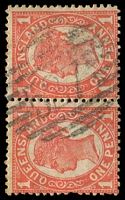 Lot 1472:527: BN on 1d 4-Corners pair. [Rated S]  Allocated to Mossman River-RO 22/6/1883; PO c.1895; renamed Mossman PO c.1899.
