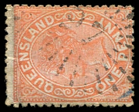 Lot 1432:97: rays on 1d orange Lined-Oval.  Allocated to Carrangarra-PO 1/1/1866; renamed Tambo PO c.1868.