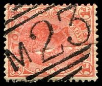 Lot 10941:1023: 'M23' on 1d pink. [Rated S]  Allocated to Noradjuha-PO 24/10/1877; closed 18/1/1985.
