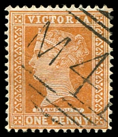 Lot 2349:1041: 'M41' on 1d brown. [Rated SS]  Allocated to Springmount-PO 4/2/1878; closed 31/8/1977.