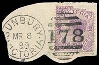 Lot 10513:178: 2nd framed duplex 'SUNBURY/MR8/99/VICTORIA - 178' on 2d violet (fault).  Allocated to Sunbury-PO 13/1/1858.