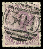 Lot 10606:304: on 2d violet. [Rated SS]  Allocated to Smeaton-PO 21/6/1860; closed 29/10/1993.