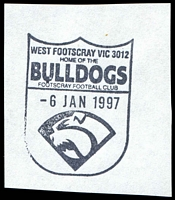 Lot 2994:Footscray West: - WWW #170 pictorial 'WEST FOOTSCRAY VIC 3012/HOME OF THE/BULLDOGS/FOOTSCRAY FOOTBALL CLUB/6JAN1997/{bulldog}'.  RO 15/4/1914; PO c.-/12/1916; LPO 1/2/1998.